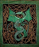 Celtic Dragon Tapestry Cotton Bedspread 108'' x 88'' Full-Queen Green