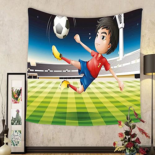 Gzhihine Custom tapestry Kids Tapestry Young Boy Playing Football in the Stadium Athlete Sports Soccer Championship Graphic for Bedroom Living Room Dorm Multicolor by Gzhihine