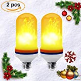 CPPSLEE LED Flame Effect Light Bulb - E26 Standard Base -Christmas Decoration Simulation Fire Flickering 105pcs 2835 LED Beads - Flame Light for Hotel/ Bars/ Home Decoration (2 Pack)