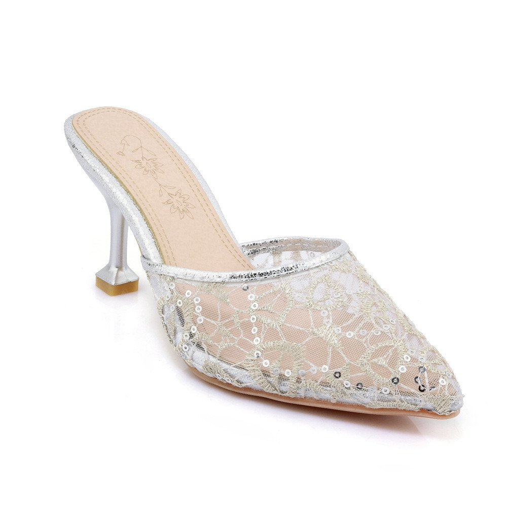 Mit dem Sommer feine Spitze Größe, Baotou Spitze Silver ausgesetzt weiblichen Sandalen Silver Spitze 907230
