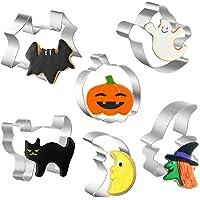 Halloween Cookie Cutter Set, 6 Delige Roestvrijstalen Koekjessnijders - Pompoen, Vleermuis, Geest, Kat, Heksenkop en…