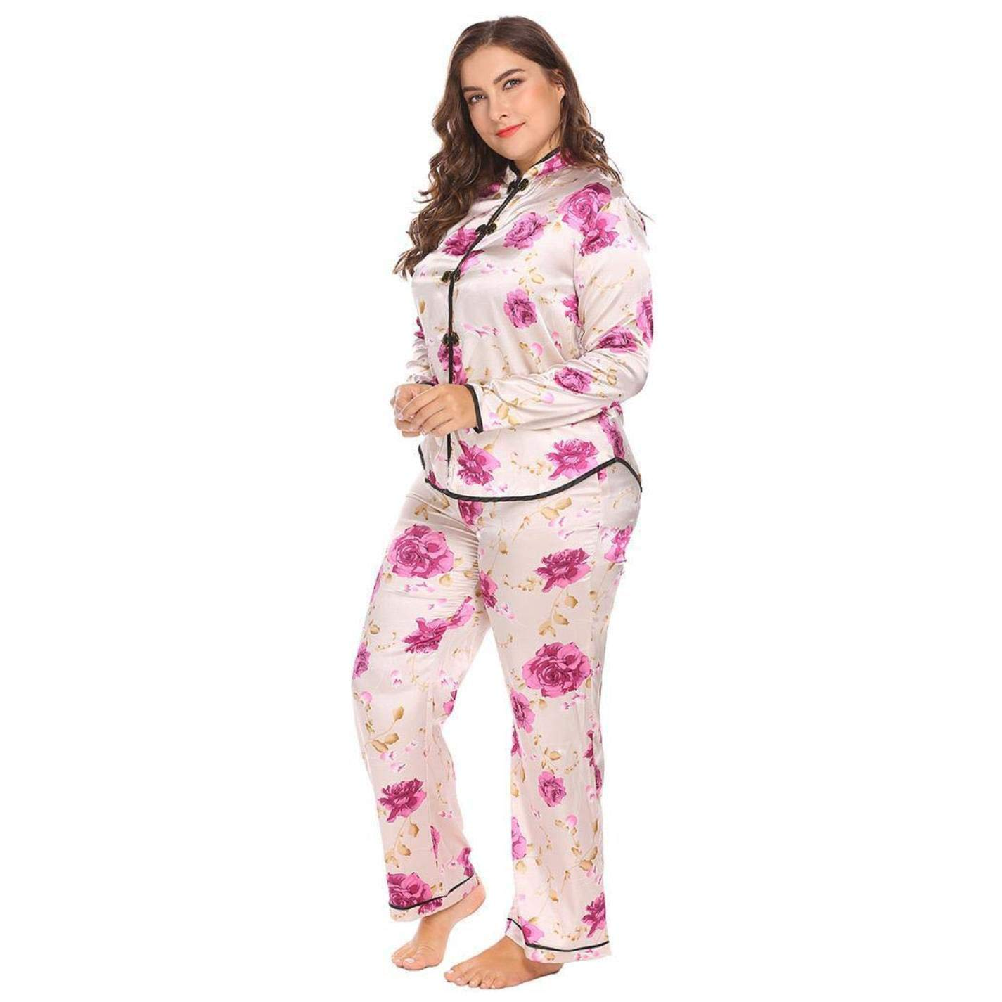 cf3974278c Amazon.com  Women Satin Plus Size Stand Color Long Sleeve Floral Top Pants  Pajama Set  Clothing