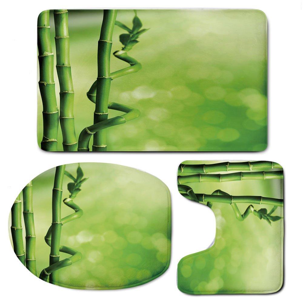 3 Piece Bath Mat Rug Set,Green,Bathroom Non-Slip Floor Mat,Bamboo-Stems-Nature-Ecology-Sunbeams-Soft-Spring-Scenic-Spa-Health-Relaxation-Decorative,Pedestal Rug + Lid Toilet Cover + Bath Mat,Green-Lig