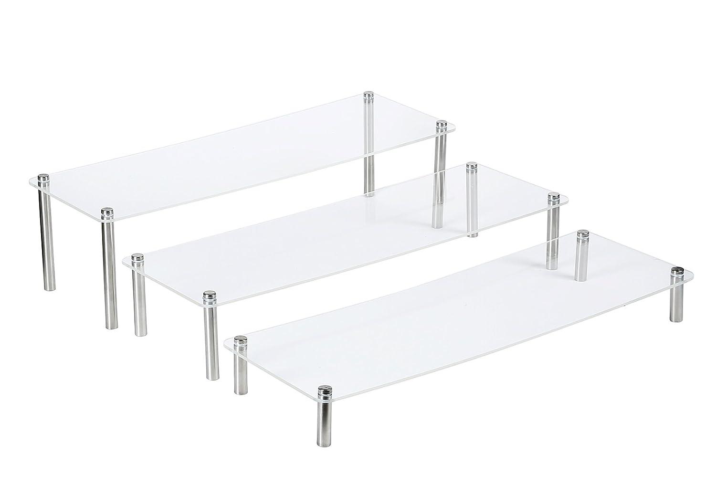 3-Tier Clear Rectangular Acrylic & Metal Cupcake/Bags /Dessert Display Stand Set of 3 (1set 5'10')