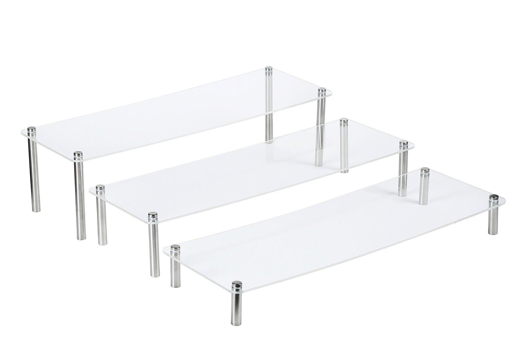 3-Tier Clear Rectangular Acrylic & Metal Cupcake/Bags /Dessert Display Stand Set of 3 (2 set 5''14'')