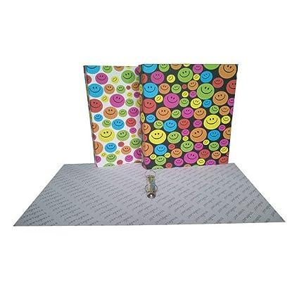 40111 - Set de 2 carpetas A4 con 2 anillas, tapa cartón forrado, diseños
