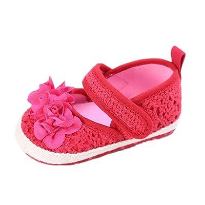 Chaussures de bébé Auxma bébé fille Summer Princess First Walkers Chaussures Sandales à fleurs Chaussures pour 3-18 mois (6-12 M, rouge)
