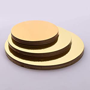 ZEYOU 8/10/12 Inch Round Wedding Birthday Cake Boards,Food Grade Card Board Baking Cake Hard Paper Pad Baking Making Tool Dessert Displays Tray(12in,Gold)