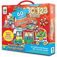 The Learning Journey: Puzzle Doubles - Giant ABC & 123 Train Floor Puzzles - Two Puzzles in One