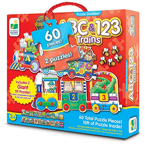 The Learning Journey: Puzzle Doubles - Giant ABC & 123 Train Floor Puzzles - Two Puzzles in One (Educational Train)