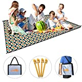 Picnic Blanket, X-Lounger Water Resistant & Lightweight 1.4LBS Sand-Proof Foldable Backpack Outdoor Camping Mat Double Layers 80'' x 60'' Polyester & 210D Moisture-Proof Material Come with 4 Loops