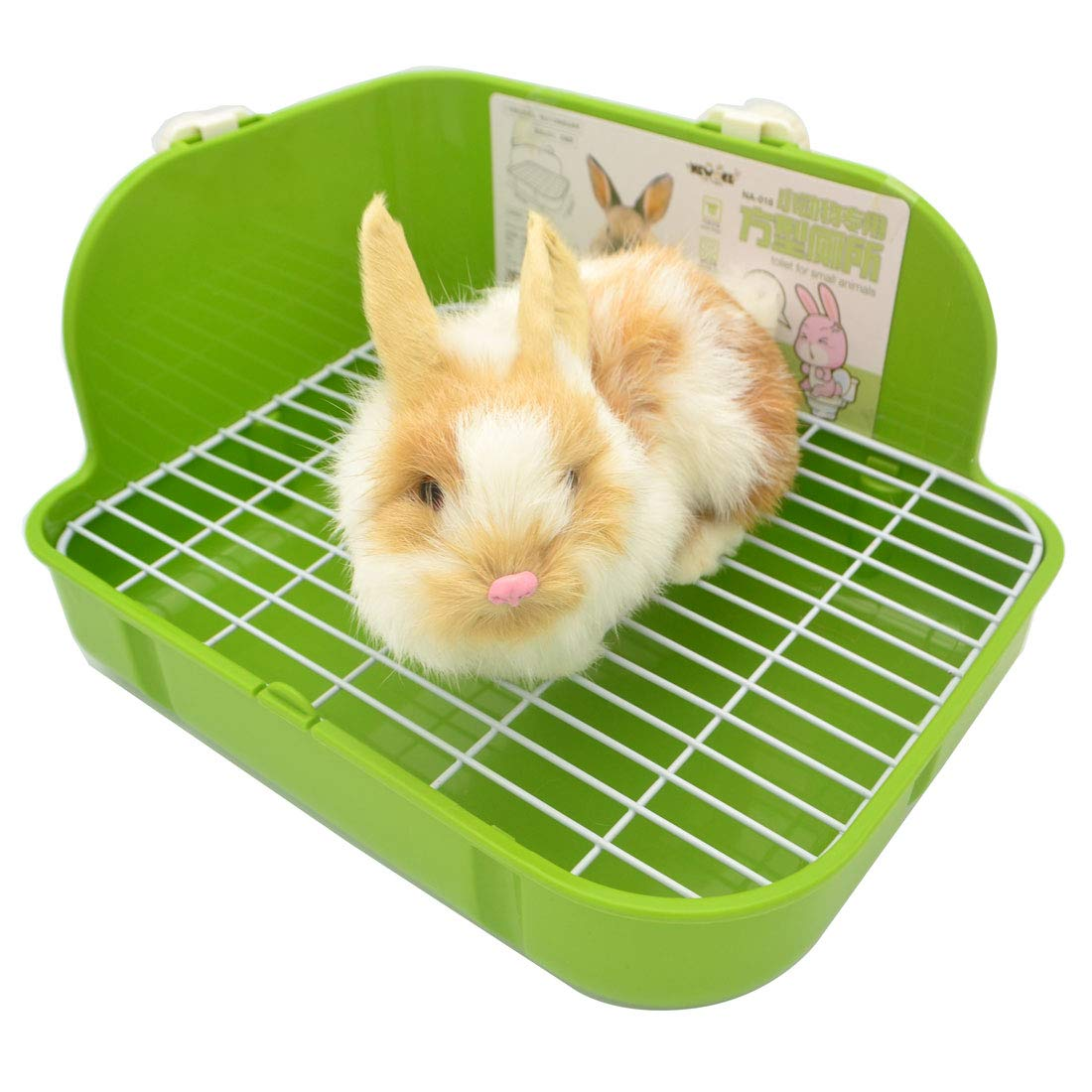 SunshineBio Rabbit Litter Box Toilet for Small Animal Bunny Rabbits Guinea Pig Galesaur Ferrets Corner Litter Pan Potty Trainer with Stainless Steel Panel Small Pets Cage Toilet Bedding Box (Green) by SunshineBio