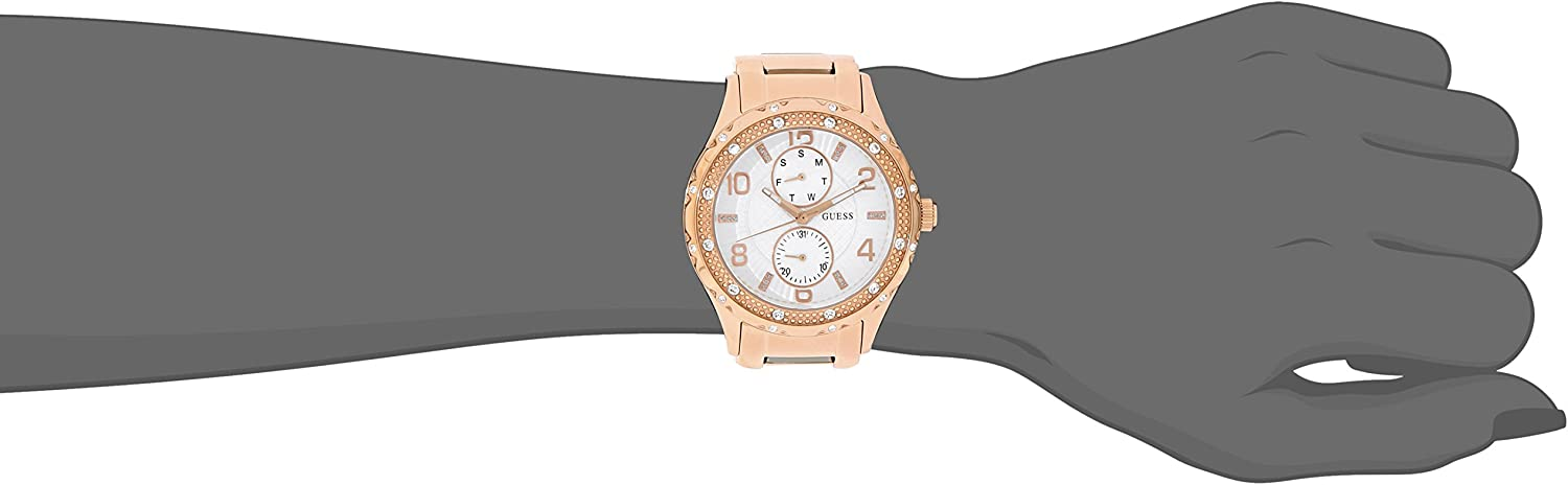 GUESS Women's U0442L3 Mid Size Rose Gold Tone Multi Function Watch