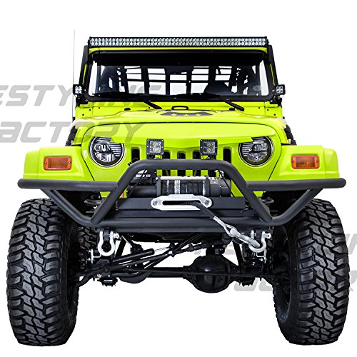 - Restyling Factory 97-06 Jeep Wrangler Black Tubular TJ Rock Crawler Front Bumper with Winch Mount Plate (Black)