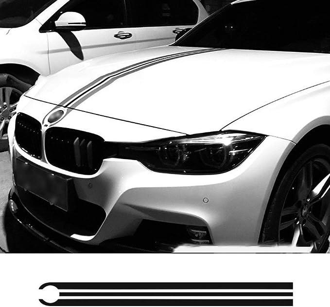 JohnJohnsen Capó del Coche Bonnet Racing Rayas líneas calcomanías Cubierta del Motor Pegatinas para BMW E46 E36 E90 F30 F31 F34 E39 E60 F10 F11 F07 G30 (Negro): Amazon.es: Juguetes y juegos