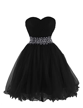 Anlin Womens Sweetheart Tulle Cocktail Dress Homecoming Dress Black US2