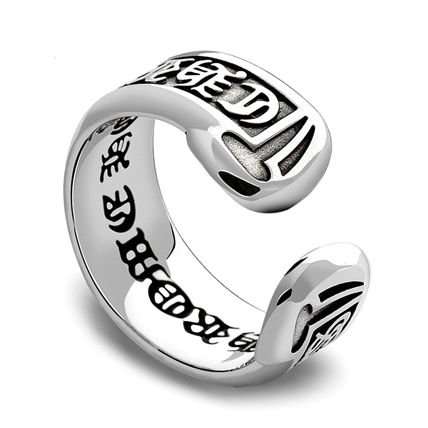 AMDXD Jewelry Women Men Wedding Ring Sterling Silver Vintage Mantra Ring Size 5 to Size 12