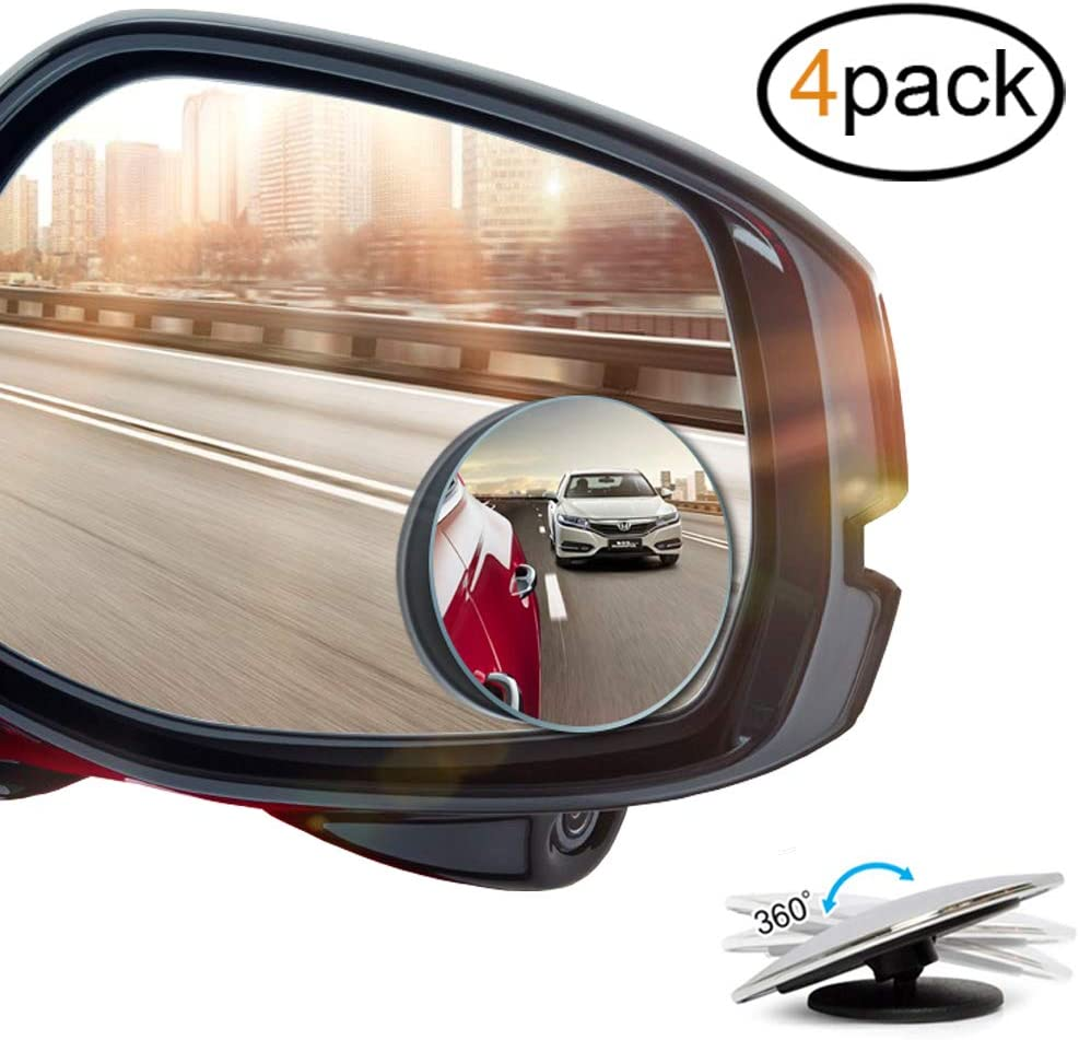 2 pcs Blind Spot Mirrors 2 Round Ultra-thin Frameless HD Glass Convex Side Rear View Mirror with Wide Angle Adjustable Stick for Cars SUV and Trucks Pack of 2