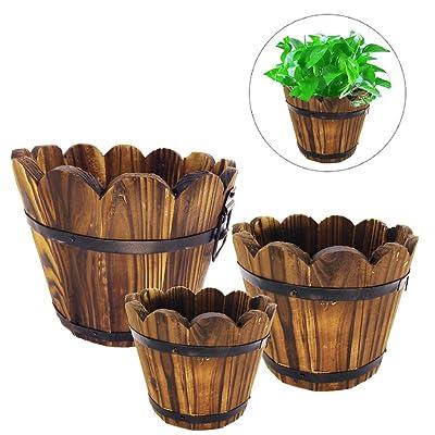 Evniset Rustic Succulent Wooden Barrel Planter Plant Container Box Set of 3 (3 Sizes Wave Mouth) : Garden & Outdoor