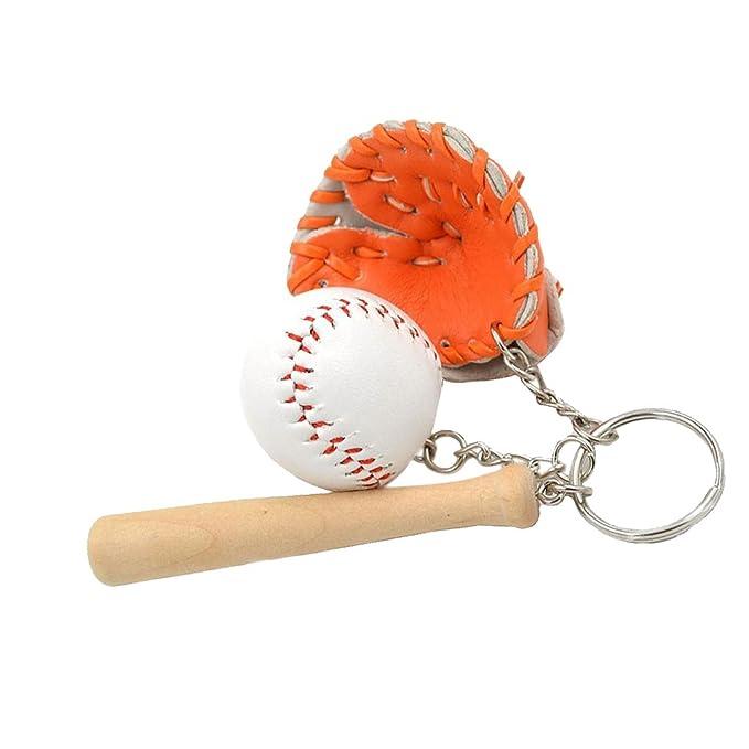 Llavero Colgante Anillo Cadena Joya Clave Mini Pelota de Béisbol Guantes Decoraón Bolsa Regalo - Marrón