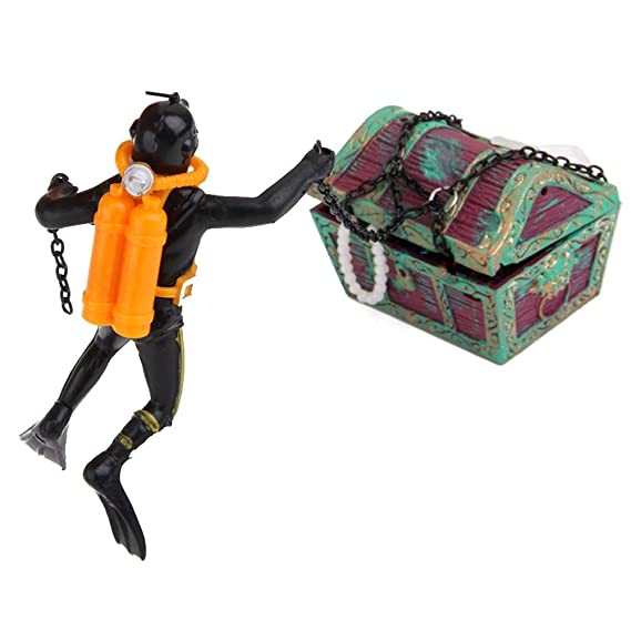 TOOGOO Buzo Cazador de Tesoros Decoracion para Acuario Tanque de pez Negro: Amazon.es: Productos para mascotas