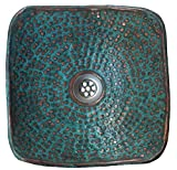 Bathroom Sinks Designs Verdigris Turquoise Finish Square Design Copper Bathroom Vessel Sink Hand Wash Toilet Lavatory Basin by Egypt gift shops