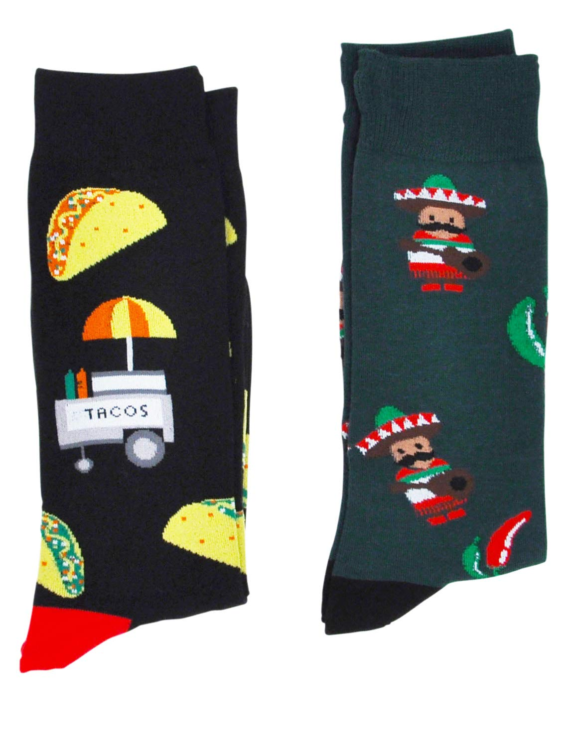 Fine Fit Mens Novelty Print Trouser Socks 2 Pair Set (Tacos & Chilis)