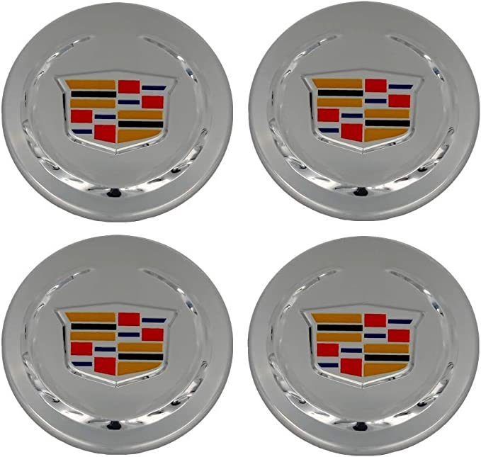 CHUNLING Car Emblem Badge Wheel Center Cover Hub Caps for Cadillac Compatible 4 PCS 65mm 2.56inch 9595010 for ATS XTS CTS Old Logo Accessories Replacement