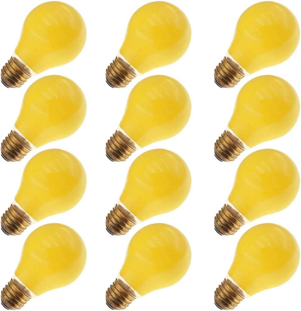 Krypton 25A19K//Y 130 Volt 25 Watt Medium A19 Glass Size Yellow Light Bulb 4 Pack