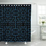 Emvency Shower Curtain Blue Game Black Video Retro Waterproof Polyester Fabric 72 x 72 inches Set with Hooks