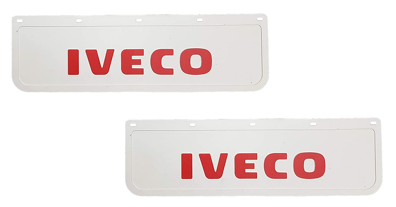 Parafanghi in gomma resistente bianco con rimorchio rosso 60 x 18 cm 2 pezzi
