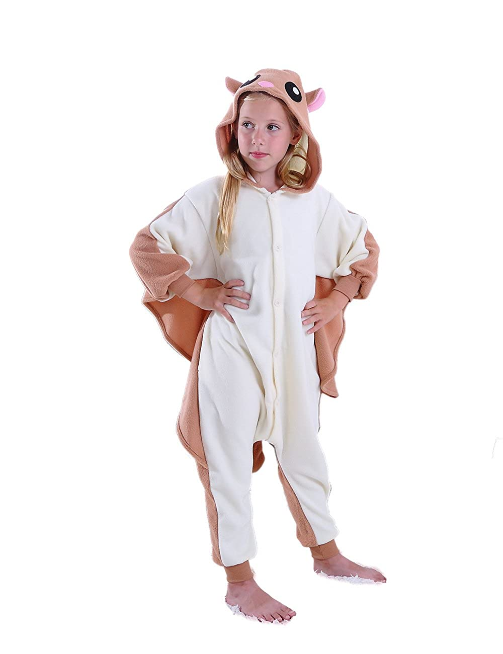 f10c342cf83a Amazon.com  cosMonsters Kids Flying Squirrel Animal Onesies Cosplay Costume  Pajamas for Girls and Boys(8)  Clothing