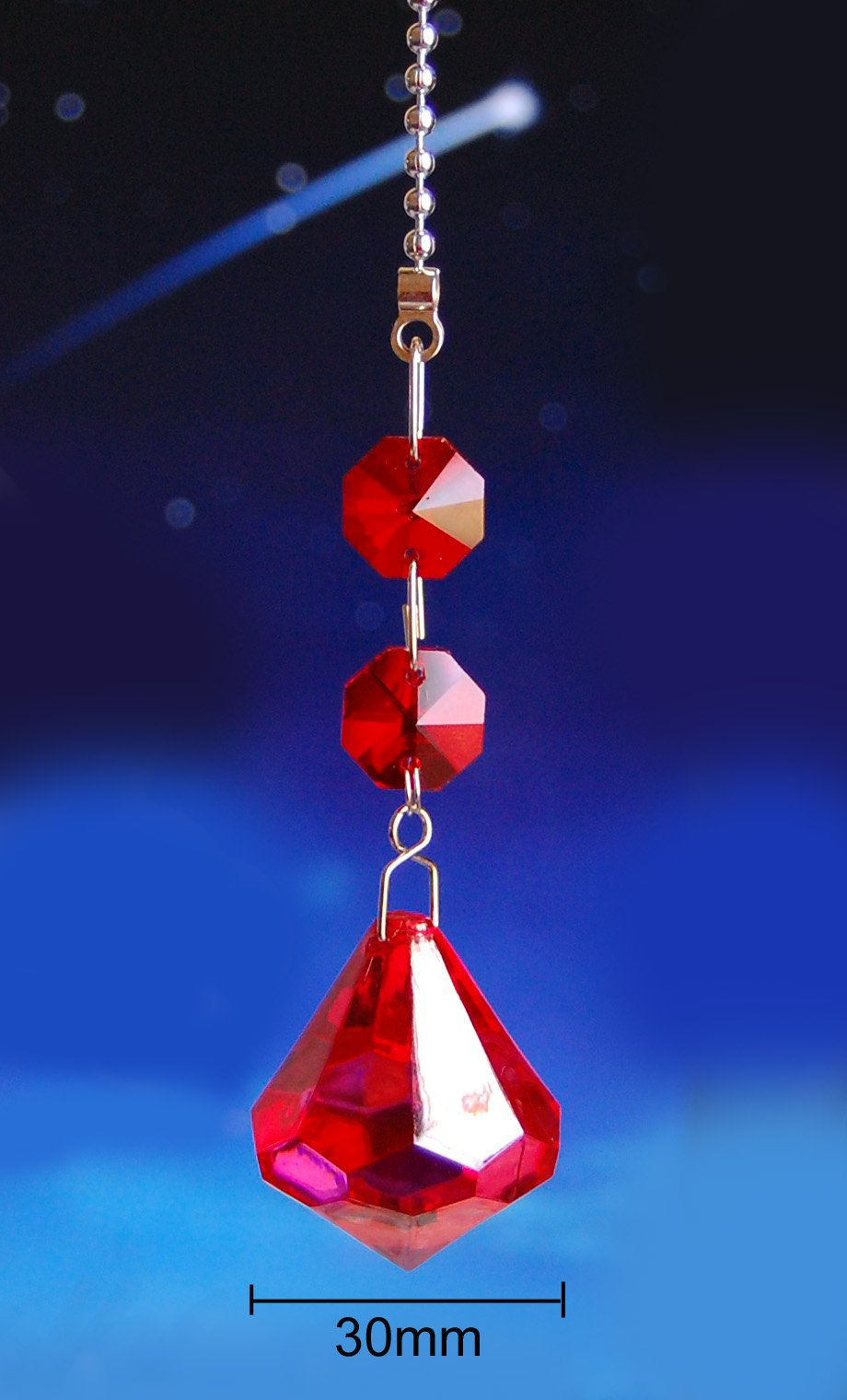 2 of Red Crystal Diamond Ceiling Lighting Fan Pulls Chain by Blessinglight USA