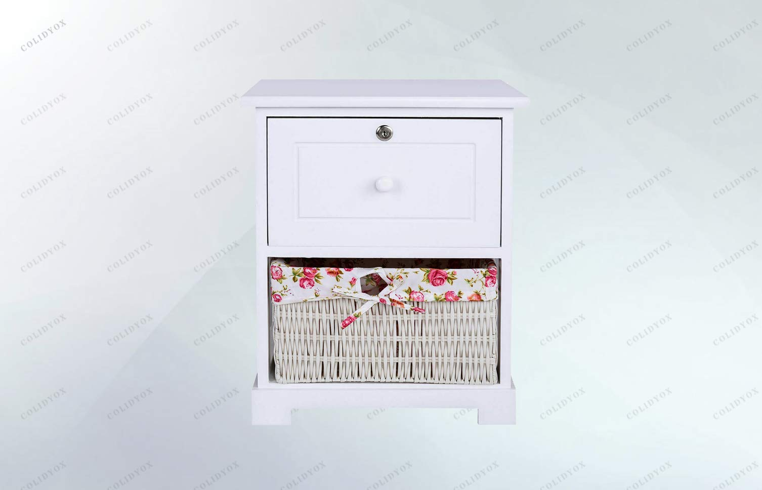 COLIDYOX>2 Tiers Wood Nightstand1 Drawer Bedside End Table Organizer W/Basket White, Solid Wood Construction, Durable and Sturdy, One Cute PVC Basket on The Bottom Shelf, Contemporary and Open Design