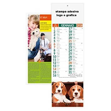 100 Stock Calendari 2018 Personalizzare Logo 14 x 47 Calendario Silhouette Perros Gatos