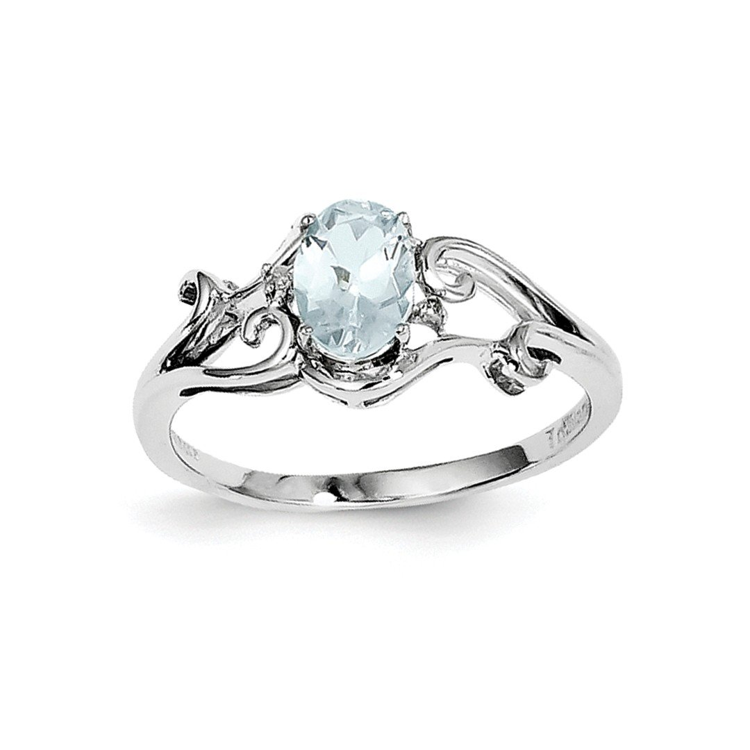 ICE CARATS 925 Sterling Silver Diamond Blue Aquamarine Oval Band Ring Size 8.00 Gemstone Fine Jewelry Ideal Gifts For Women Gift Set From Heart