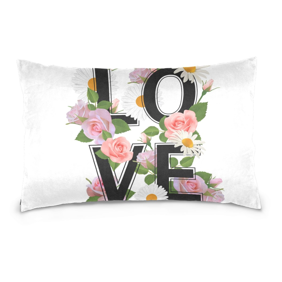 Top Carpenter LOVE Flowers Roses Velvet Oblong Lumbar Plush Throw Pillow Cover/Shams Cushion Case - 20x26in - Decorative Invisible Zipper Design for Couch Sofa Pillowcase Only