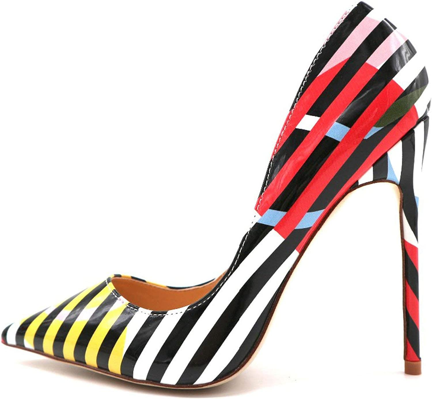 Designer White Black Stripe with Yellow Pink Circle Patent Leather Pointed Toe 12cm high Heel Pump Shoes