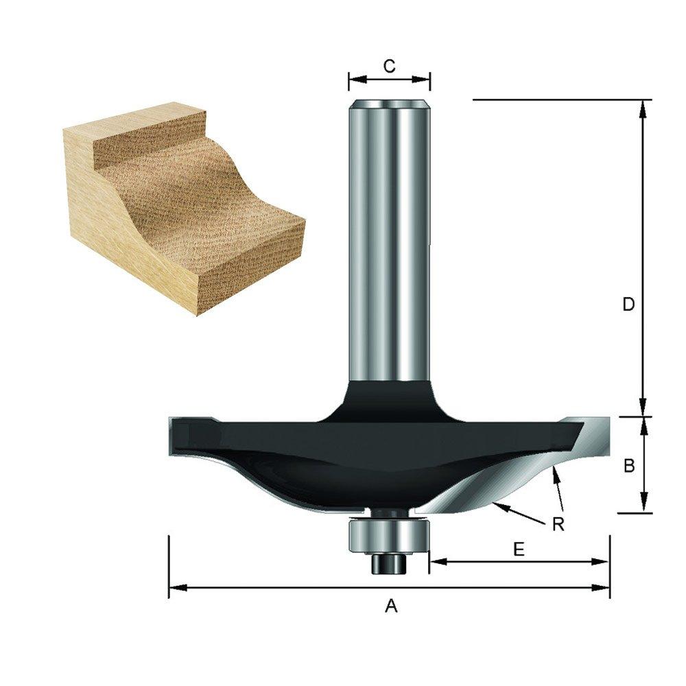 E 19/° avec roulement R 9,52 mm C 50,8 mm ENT Fraise plate-bande profil Karnis Carbure Queue Diam/ètre B 12,7 mm 8 mm D 32 mm A