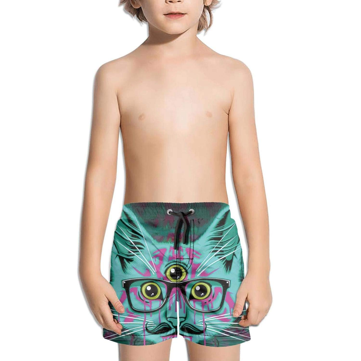 Cats Rolling Around Boys Girls Swimming Trunks Beach Board Shorts Fully Lined Absorbent Colorful Graphic Kids Short Pants