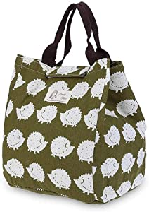 Portable Insulated Lunch Bags, SUNEO Canvas Thermal Food Picnic Lunch Bag Outdoor For Work (Hedgehog Print) (Hedgehog Print)