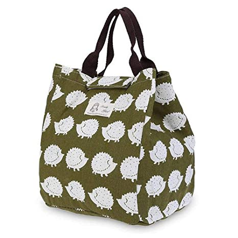 9687b828d2a5 Portable Insulated Lunch Bags, SUNEO Canvas Thermal Food Picnic Lunch Bag  Outdoor For Work (Hedgehog Print)