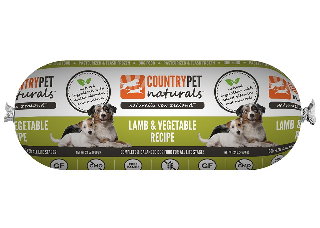 CountryPet Naturals Pasteurized Frozen Dog Food, Lamb and Vegetable Recipe (24 lbs Total, 16 Rolls each 1.5 lbs) - Natural Ingredients with Added Vitamins & Minerals - Made in New Zealand by CountryPet Naturals