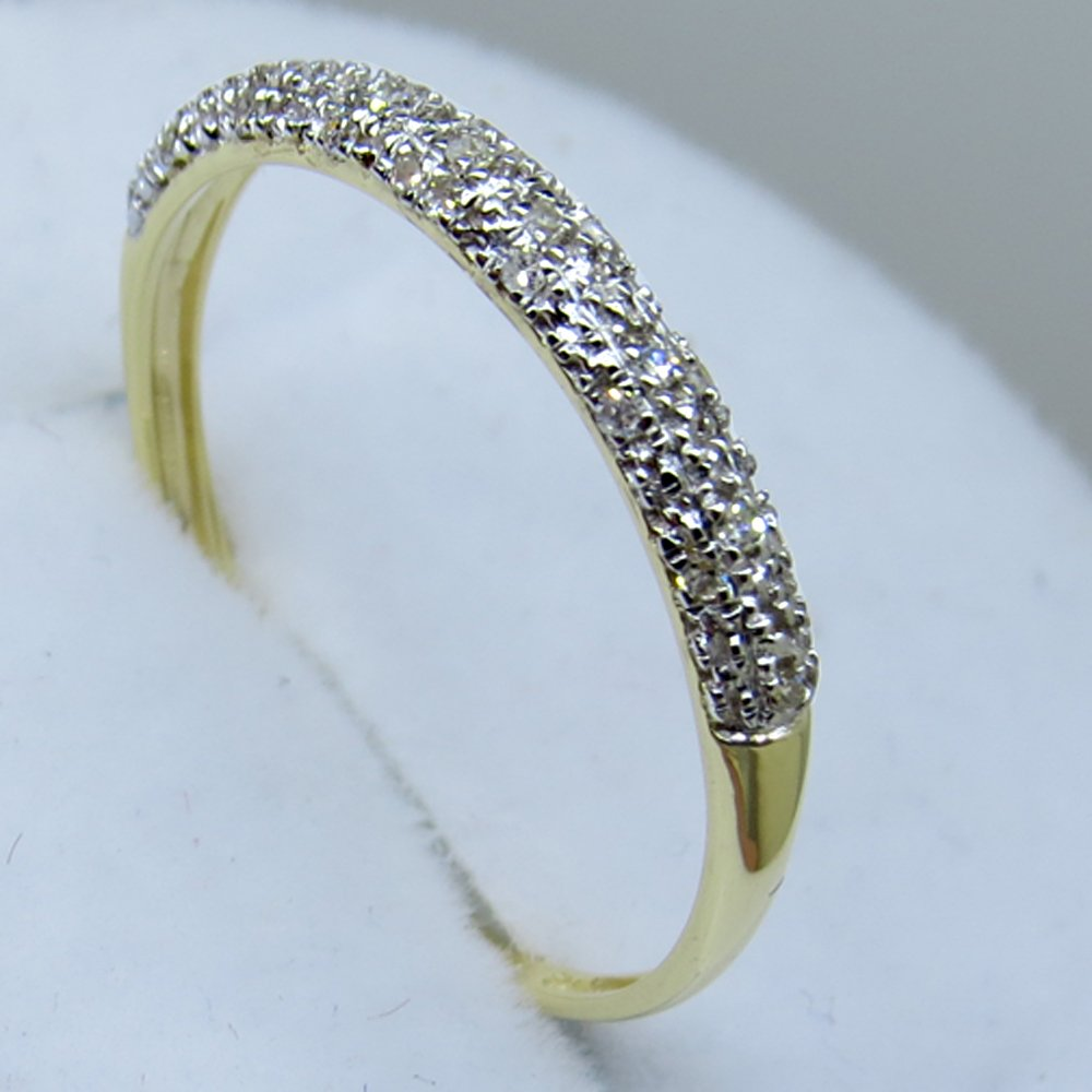 0.10 Carat (ctw) 10k Yellow Gold Round Diamond Ladies Anniversary Wedding Band Stackable Ring 1/10 CT (Size 7.5)