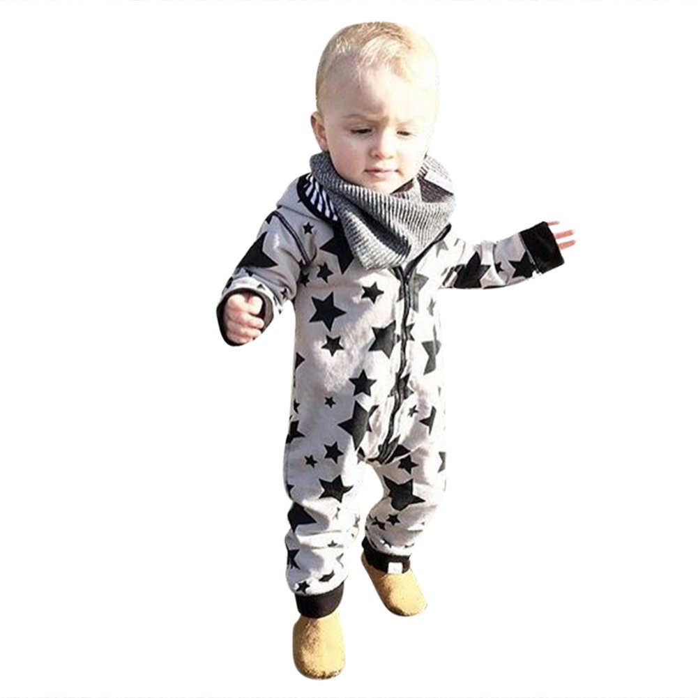 ce7304fcd689 Chinatera Baby Boy s Fall Clothes Long Sleeve Zipper Hooded Romper ...