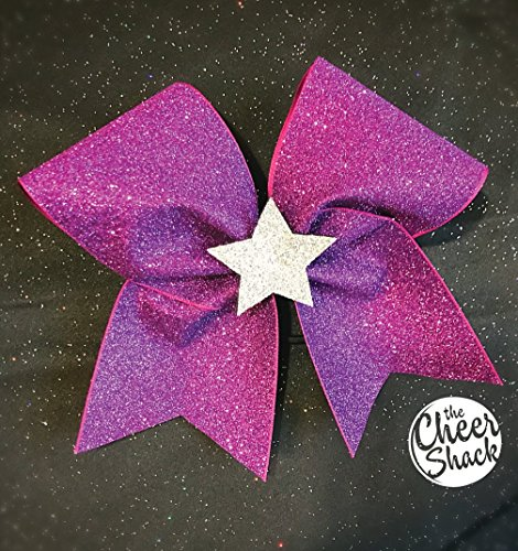Purple Glitter with Silver Star Cheer Bow, Cheer Bow - Image 1