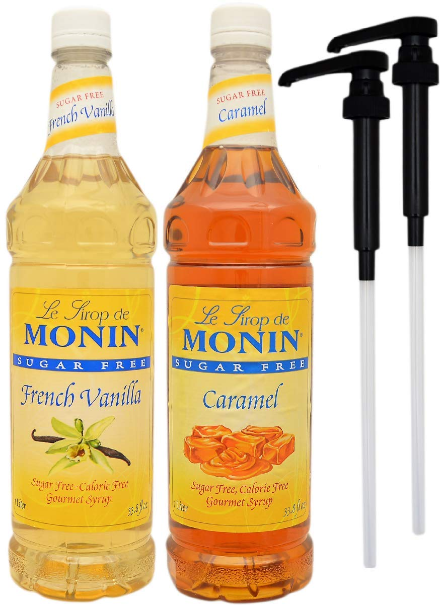 By The Cup Pump and Syrup Combo - Monin Sugar-Free Vanilla and Sugar-Free Caramel Syrup - 1 Liter Bottles with 2 Pumps by By The Cup (Image #1)