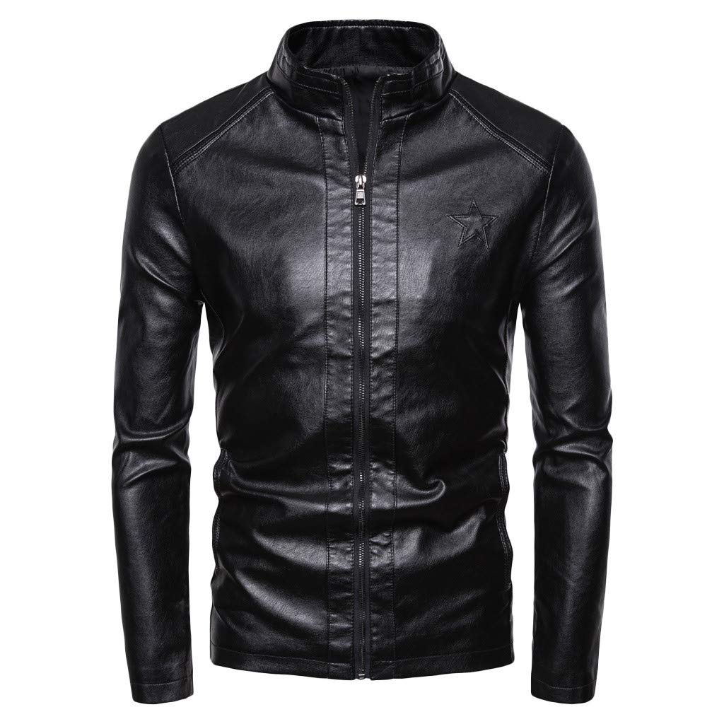 Men's Vintage Stand Collar Leather Jacket Motorcycle PU Faux Leather Outwear by Donci Leather Jacket