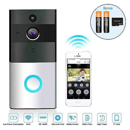 Timbre Inalámbrico Videoportero Wifi HD Gran Angular Versión Noctura Seguridada para Hogar con Tarjeta de Memoria 16GB y Batería Recargable