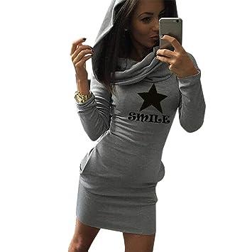Delicacydex Vestido Ajustado de una Pieza de Manga Larga Vestido de Sudadera con Capucha con Estampado de Estrellas y Letras para Mujeres - Gris Claro L: ...